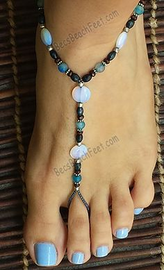 Stella Blue ~ Inspired by The Grateful Dead's music, this piece is made with opalite coin beads with blue agate, wood and silver plated beads. ✿ Foot Jewelry •  Barefoot Sandals • Anklets • Bracelets