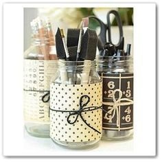 Like this idea for make up brushes. Just use different scrapbook paper.