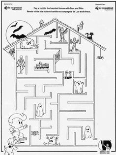 Halloween Worksheets, Halloween Activities, Worksheets For Kids, Holiday Activities, Halloween Themes, Book Activities, Halloween Maze, Halloween Drawings, Easy Halloween
