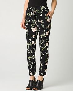 Floral Print Viscose Crêpe Pant - A slim leg pant cut from a viscose crêpe is designed with a track-inspired drawstring and allover floral print for a fashion forward look.