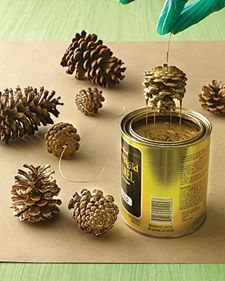 Let go gold this year...Gold painte Pine Cones @  http://goodideasforyou.com/mix-a-match/2181-diy-pine-cones-decoration.html