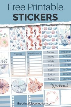 Free Planner, Happy Planner, Planner Ideas, Weekly Planner, Printable Planner Stickers, Free Printables, Watercolor Images, Sticker Design, Custom Stickers