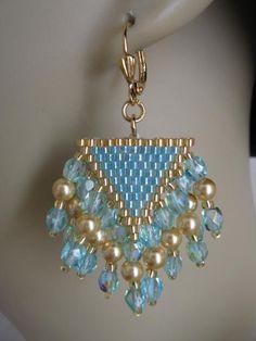 Seed Bead Czech Glass Earrings Aqua por pattimacs en Etsy