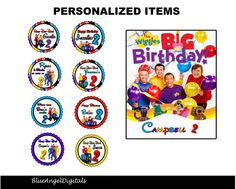 The wiggles birthday  Personlized tags note by blueangeldigitals, $11.99