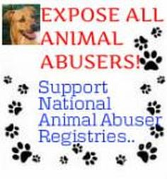 Sign and share. PETITION: EXPOSE ALL ANIMAL ABUSERS - Support Registries for Animal Abusers. Posted 112 5 2012