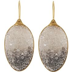 Husam el Odeh Gold plated sterling silver spoon earrings with gems