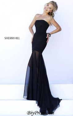 Black Sheer 2016 Sherri Hill 32167 Long Prom Gown