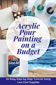 Learn how to create an acrylic pour painting on a budget using craft acrylic paints Elmers Glue-All and a few other inexpensive supplies from a dollar or craft supply store. Pour Painting Techniques, Acrylic Pouring Techniques, Acrylic Pouring Art, Acrylic Art, Using Acrylic Paint, Painting Tutorials, Fotografie Website, Painting Recipe, Cuadros Diy