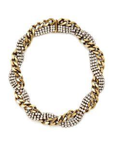 Clear Crystal & Gold Braided Chain Necklace (Elizabeth Cole via Gilt)