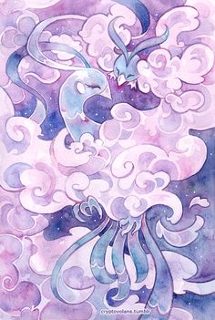 An artistic interpretation of Altaria and little Swablu, with a lot of round shapes and a lot of pink. Beautiful.