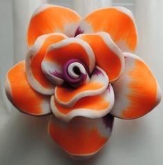 Neon Orange Floral Statement Ring/Gift For by victoriascharms