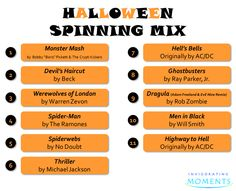 Halloween favorites and other ghoulish-sounding songs Spin Playlist, Fall Playlist, Halloween Playlist, Fun Halloween Games, Halloween Season, Holidays Halloween, Halloween Party, Elementary Physical Education, Spin Instructor
