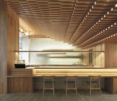 Image 2 of 15 from gallery of Ginshariya Restaurant / Tsutsumi & Associates. Photograph by Beijing Ruijing Photo Japanese Restaurant Interior, Japanese Interior, Restaurant Interior Design, Japanese Design, Chinese Restaurant, Lobby Interior, Cafe Interior, Interior Architecture, Wood Ceilings