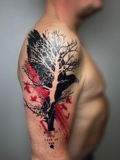tattoo bird tree trash polka