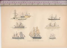 1800s Different types of Ships