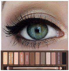 Shimmery Gold look using Urban Decay Naked Palette 2 #iheartmakeupart