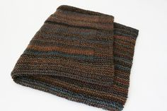 Knit Throw Blanket Marbled Design Afghan by KnitKnacksCreations