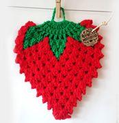 Crocheted strawberry potholder