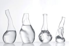 Amazing DESIGN which somehow leaves us anxious about what is going to happen with these in a second. :) Trasparente (Transparent) Carafe by Andreas Trenker Verre Design, Glass Design, Water Glass, Water Jugs, Water Carafe, Minimalist Architecture, Vintage Design, Bottle Design, Modern Contemporary