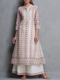 Buy Pink Beige Kalidar Hand Block Printed & Sequin Embellished Chanderi Kurta with Lining Set of 2 by Kora Kurta: Lining: Cotton SALE shop child products Online at Jaypore.com