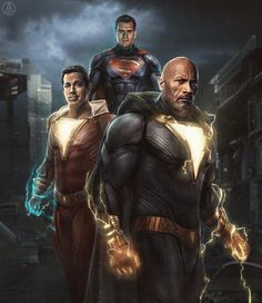 Fan-made: Superman v Shazam v Black Adam (credit: : DC_Cinematic Dc Comics Vs Marvel, Dc Comics Superheroes, Arte Dc Comics, Marvel Heroes, Captain Marvel Shazam, Arte Do Superman, Mundo Superman, Comic Kunst, Comic Art