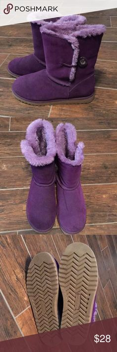 Purple/Violet Fluffy Boots Comfortable and warm. Worn only three times. Xhilaration Shoes Winter & Rain Boots