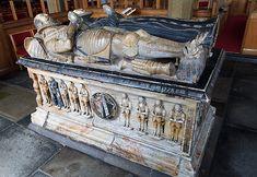 St Marcella's church, Denbigh - Sir John Salusbury d.1578 Wife (widow) Dame Jane died ? nine sons shown here