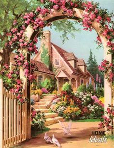 beautiful cottage illustration - ideas for planning a miniature cottage garden. Vintage Prints, Vintage Art, Grafic Design, Belle Image Nature, Images Vintage, Vintage Postcards, Storybook Cottage, Beautiful Paintings, Illustration Art