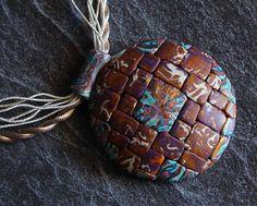 Boho pendant Polymer clay pendant Ethnic bohemian pendant