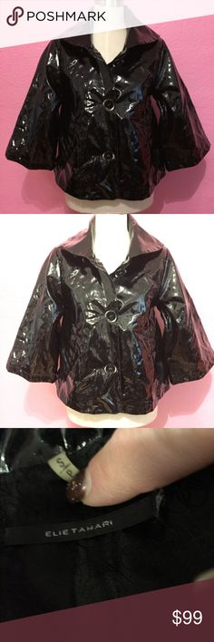 Elie Tahari black vinyl cropped shiny rain jacket Elie Tahari black vinyl cropped shiny rain jacket button loose Elie Tahari Jackets & Coats