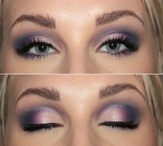 Purple smokey eyes with eyeliner pretty-hair-and-makeup