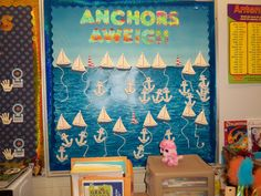 Sports Theme Classroom Bulletin Boards | AR Bulletin Board - each student has an anchor with their name on it ...