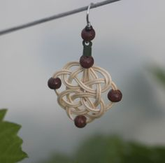 Pletená sluníčka na ouška, rattan weaving earring, tree beads, celtic, woven
