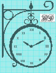 Decorate your house with one of these beautiful cross stitch clocks or give it as a present . Cross Stitch Kitchen, Cross Stitch Love, Cross Stitch Pictures, Modern Cross Stitch Patterns, Cross Stitch Designs, Filet Crochet, Cross Stitching, Cross Stitch Embroidery, Cross Stitch Silhouette
