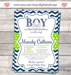 oh boy! Bow-Tie Baby Shower invitation chevron, navy blue lime green, digital files on Etsy, $15.00