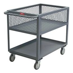 Utility Cart, 4 Mesh Sides, 2 Shelf, 18x36 by Jamco. $406.36. Utility Cart, 4 Mesh Sides, Load Capacity 1200 lb., Welded Steel Construction, Gauge Thickness 12, Powder Coat Finish, Color Gray, Overall Length 42 In., Overall Width 19 In., Overall Height 35 In., Number of Shelves 2, Caster Size 5, Caster Type 2 Rigid, 2 Swivel, Caster Material Urethane, Capacity per Shelf 600 lb., Distance Between Shelves 13 In., Shelf Length 36 In., Shelf Width 18 In., 1-1/2 In...