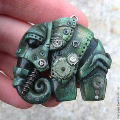 Купить Слон Бионический - зелёный, металл, серебряный, травяной, слон, слоник, бионика, стимпанк, биомеханика