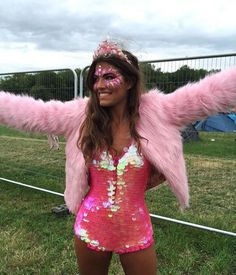 Pink sequins and fur festival outfit