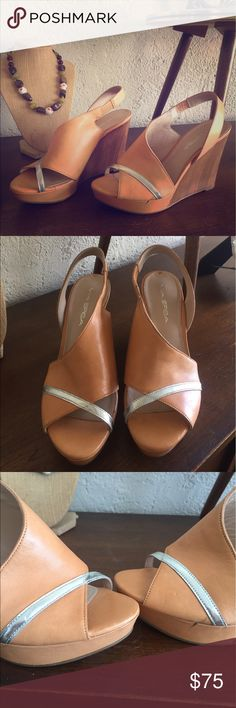 Via Spiga Summer Sexy Wedges 👠❤️☀️ Via Spiga 4'' wedge open toe shoes • natural color • leather • silver strip on open toe • size 6 • heal strap with stretch • never worn • has little damage please see picture #ithriftforyou #viaspiga #wedges #shoes #sandals #heels #leather #natural #silver #sexyshoes #summer #italianshoes Via Spiga Shoes