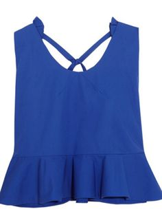 Royal-blue cotton-poplin Slips on cotton Hand wash Designer color: Klein Blue Imported Tie Crop Top, Blue Crop Tops, Frill Tops, Flutter Sleeve Top, Delpozo, Fashion Branding, Poplin, Athletic Tank Tops, Women Wear