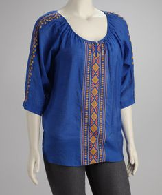Take a look at this Blue Embroidered Plus-Size Top by UMGEE U.S.A. on #zulily today!