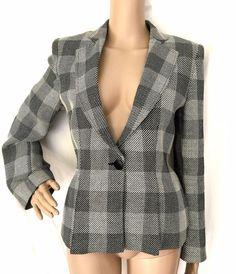Armani Collezioni Gray Cotton Blend Plaid Blazer/Jacket - Size 8 - EUC #ArmaniCollezioni #Blazer