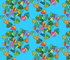 fern leaf pattern in blue fabric by aprilmariemai on Spoonflower - custom fabric