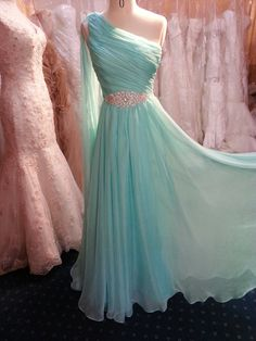 Pretty One Shoulder Mint Long Chiffon Prom Dress With Beadings, Long Prom Dresses, Prom Gowns, Evening Dresses, Bridesmaid Dress Straps Prom Dresses, Beaded Prom Dress, A Line Prom Dresses, Beautiful Prom Dresses, Dresses For Teens, Pretty Dresses, Homecoming Dresses, Bridesmaid Dresses, Dress Prom