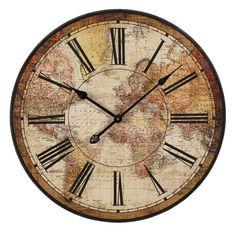 Tumblr Wall Clocks   Buy IMAX Worldwide Old World Atlas Wall Clock on sale online