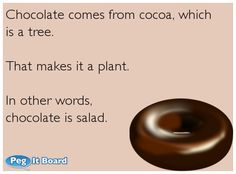 Chocolate comes from cocoa, which is a tree. That makes it a plant. In other words, chocolate is salad.