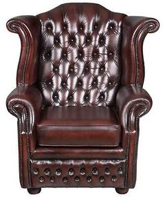 Vintage-Antique-Style-Red-Leather-Tufted-Wing-Back-Arm-Chair-English-Traditional