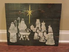 Nativity Christmas Scene on Pallet Wood with Rustic Distressed finish.measures 20x16