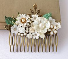 Bridal Hair Comb  Shabby Chic Hair Accessories White by lonkoosh,