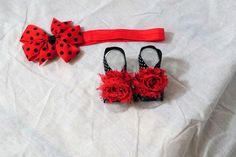 lady bug red and black polka dot barefoot sandals and headband ladybug headband red black headband polka dot headband barefoot sandals by PrincessZorastutus, $10.50 USD